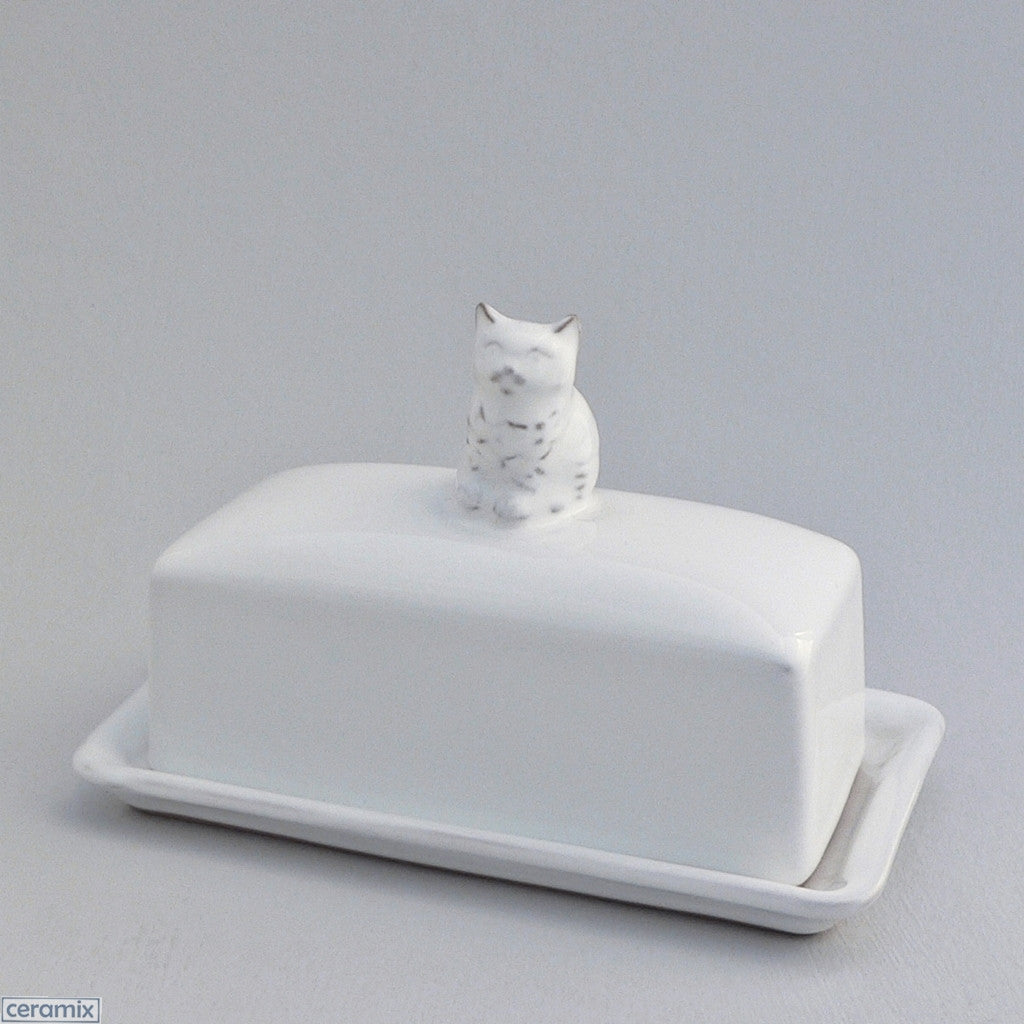 White Kitten Butterdish in Terracotta Clay Glazed White by Ceramix