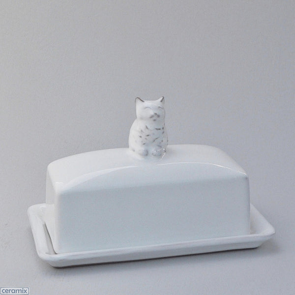 White Ceramic Kitten Butterdish in Terracotta Clay Glazed White by Ceramix
