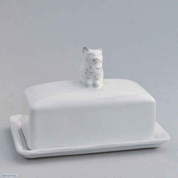 Tiny White Ceramic Kitten Butter Dish in Terracotta Clay Glazed White by Ceramix