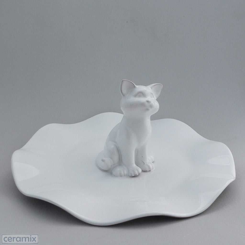 White Ceramic Cat Wavy Platter in Terracotta Clay Glazed White by Ceramix