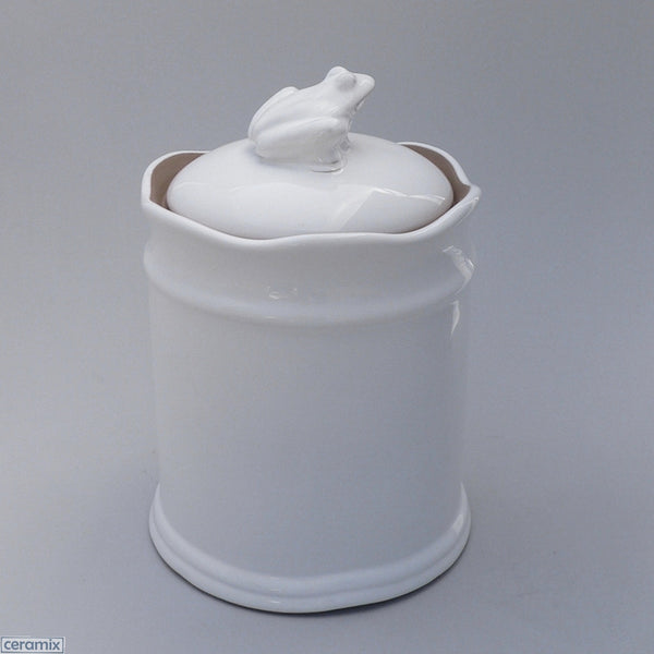 White Ceramic Frog Canister #3 in Terracotta Clay Glazed White by Ceramix