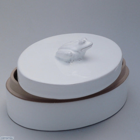 White Ceramic Frog Large Oval Box in Terracotta Clay Glazed White by Ceramix