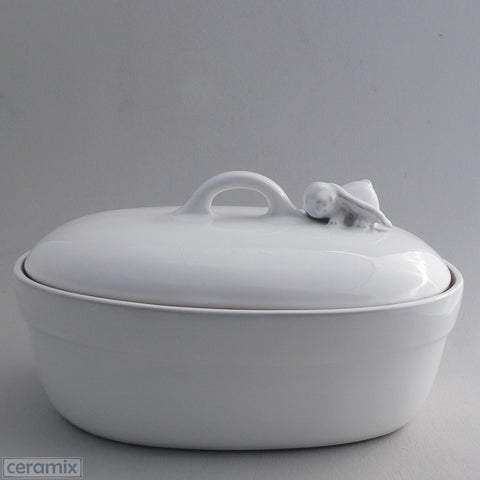Large Oval Terracotta Ceramic Lying Bunny Casserole Dish