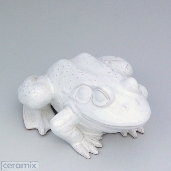 White Ceramic Medium Frog in Terracotta Clay Glazed White by Ceramix