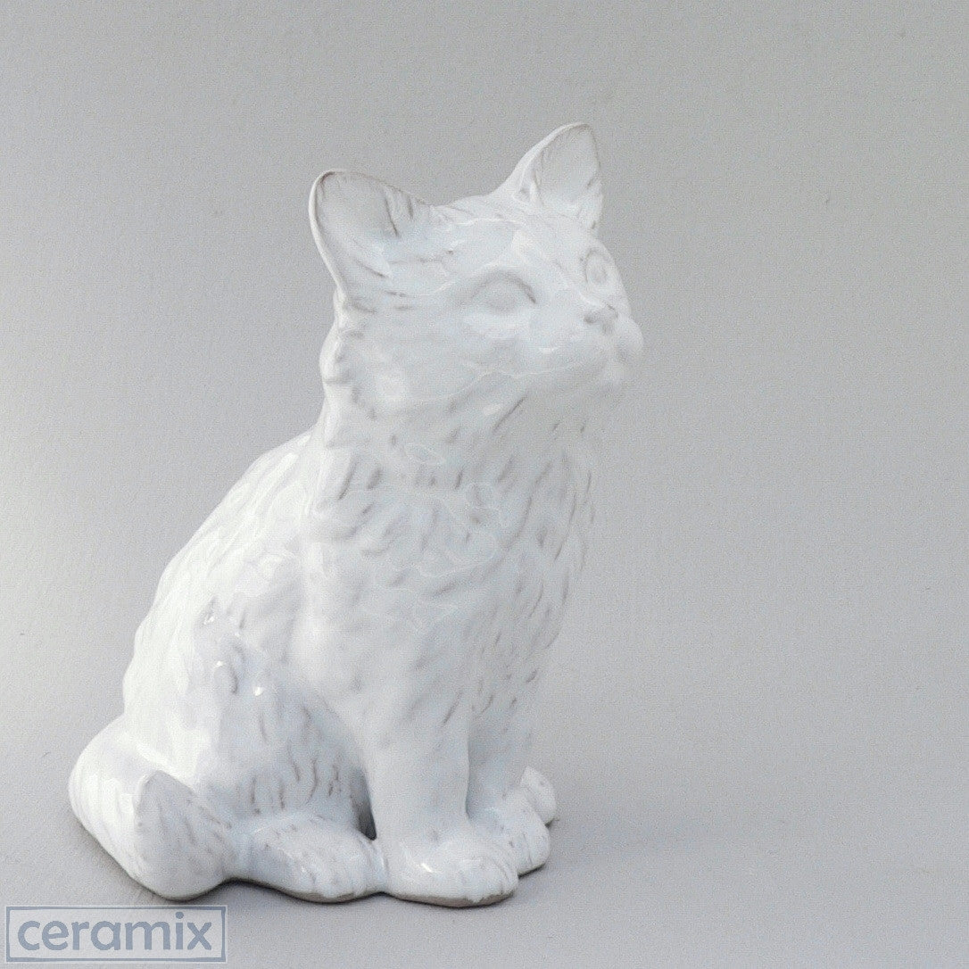 White Ceramic Medium Cat in Terracotta Clay Glazed White by Ceramix