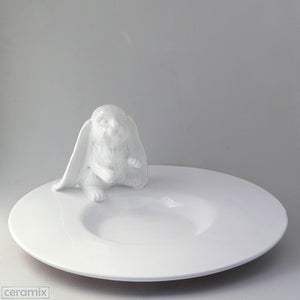 White Ceramic Bunny Fruit Platter in Terracotta Clay Glazed White by Ceramix