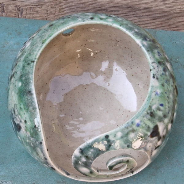 Motley Green Yarn Bowl from above clearly showing the grey speckled glaze by Ceramix
