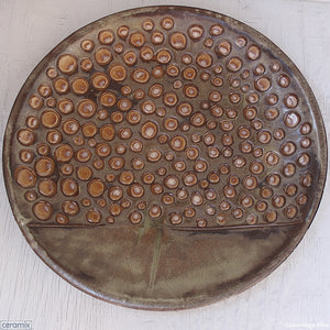 New Life Large Round Stoneware Platter 7 handcrafted by Margaret Melville at the Ceramix pottery in South Africa from African clay - 43cm Wide x 5.5cm High