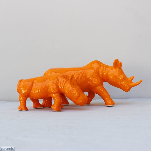 Ceramic Rhino and Calf Glazed Orange by Ceramix