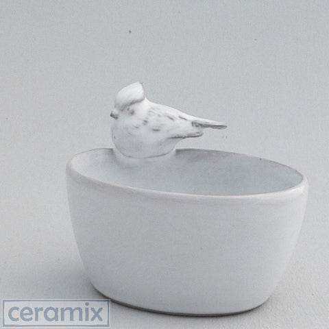 2 Tiny Ceramic Oval Bird Bowls #1