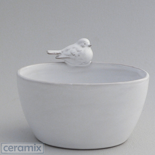 White Ceramic Bird Oval Bowl in Terracotta Clay Glazed White by Ceramix