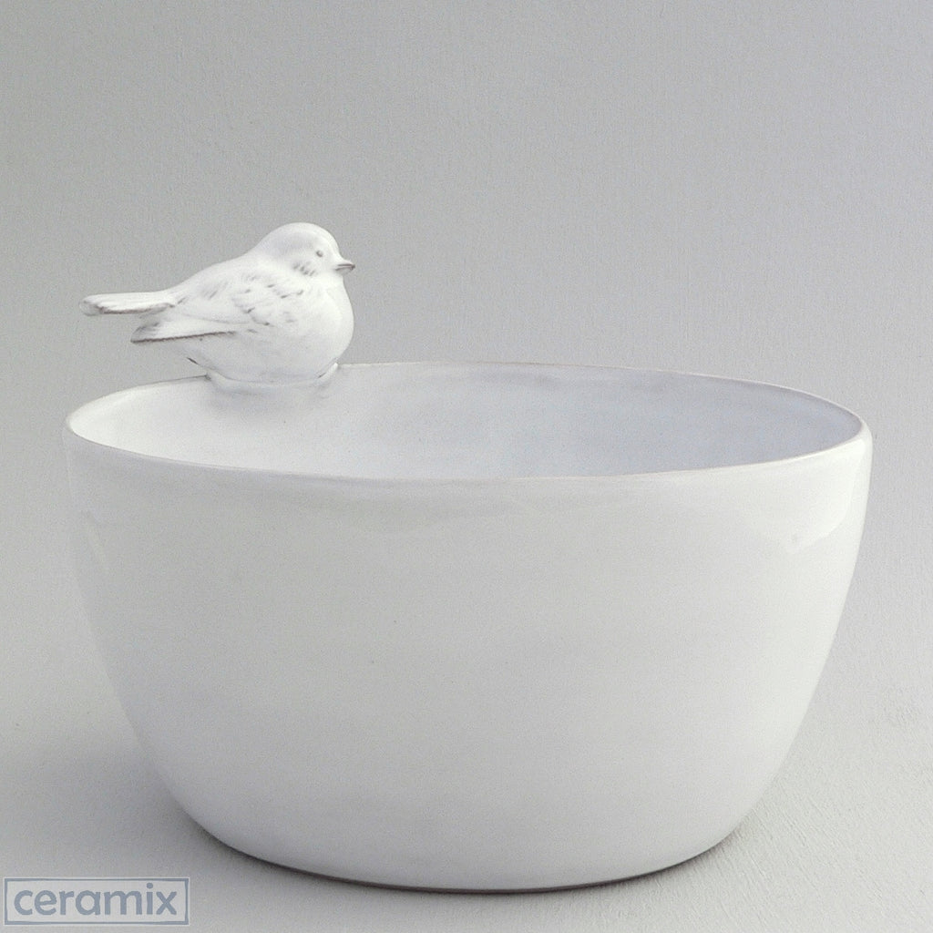 Large White Ceramic Bird Oval Bowl in Terracotta Clay Glazed White by Ceramix