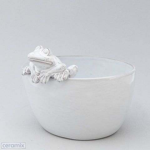 White Ceramic Frog Oval Bowl in Terracotta Clay Glazed White by Ceramix