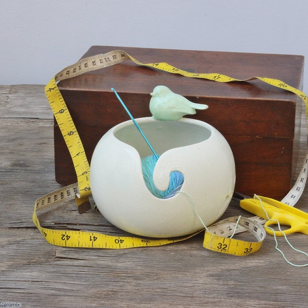 Styled Peaceful Song Green Bird Yarn Bowl in use by Ceramix in South Africa
