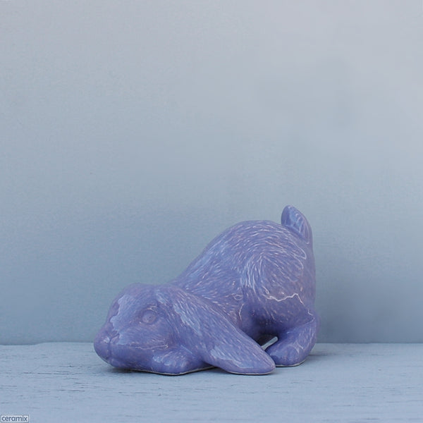 Purple Candi Playing Ceramic Bunny. Handmade in South Africa from African clay at the Ceramix pottery.