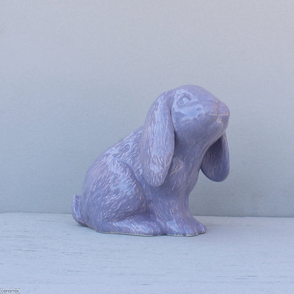 Purple Dixie Sitting Ceramic Bunny. Handmade in South Africa at the Ceramix Pottery.