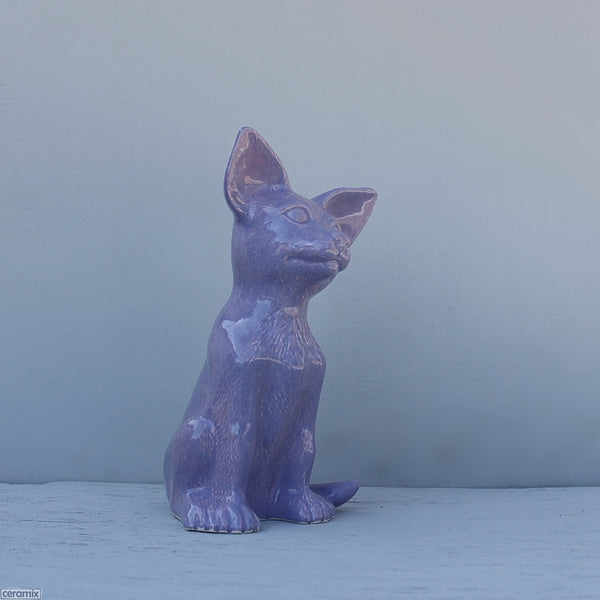 Purple Large ceramic sitting Abby Chihuahua. Handmade in South Africa from African clay at the Ceramix pottery.