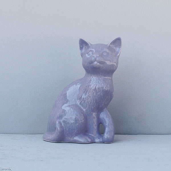 Purple Molly Ceramic Sitting Cat. Handmade in South Africa from African clay at the Ceramix pottery.