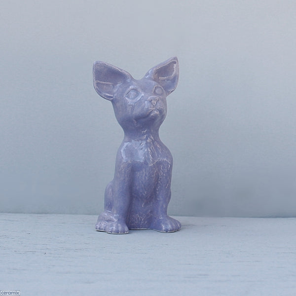 Small Frankie Ceramic Sitting Chihuahua White Clay glazed Purple Handmade at the Ceramix Pottery in South Africa from African clay