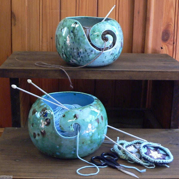 Shattuckite Turquoise & Quantum Quattro Blue Large Round Yarn Bowls Handmade by Margaret Melville Hugo in South Africa from African clay and speciality glazes at Ceramix