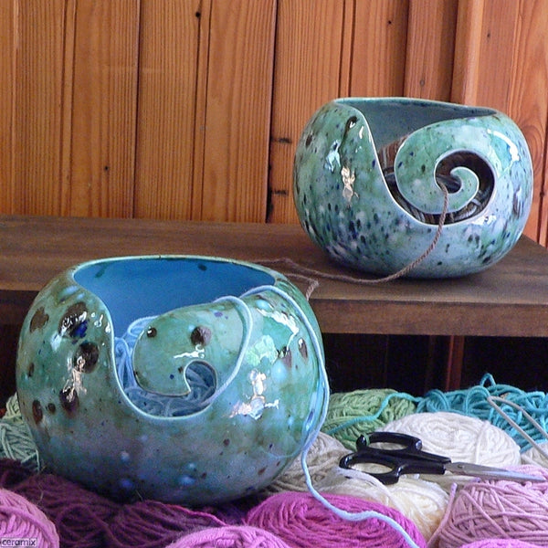 Shattuckite Turquoise and Quantum Quattro Blue Large Round Yarn Bowls Handmade by Ceramix