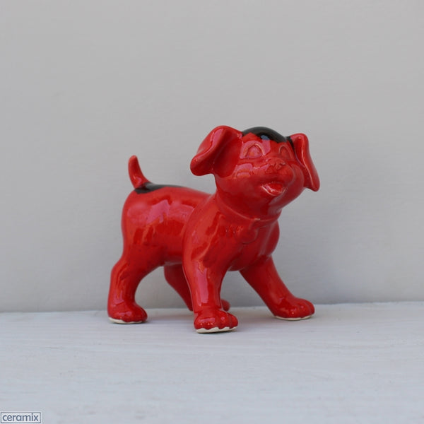 Ceramic Izzy Standing Red Ink Blot Dog by Ceramix