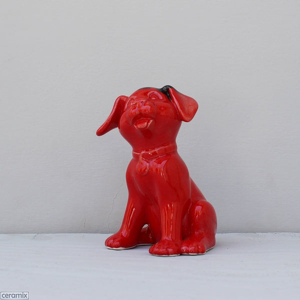 Glazed Ceramic Lulu Sitting Dog Red Ink Blot by Ceramix