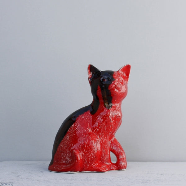 Glazed Ceramic Molly Sitting Cat Red Ink Blot by Ceramix