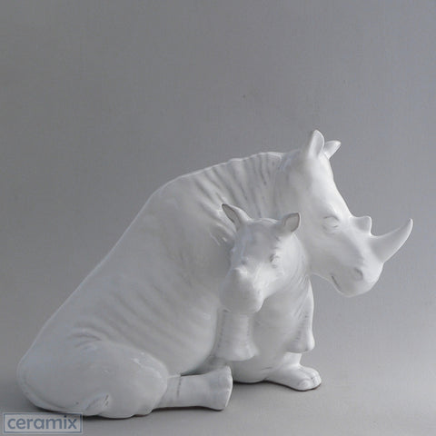 Ceramic Rhino and Calf