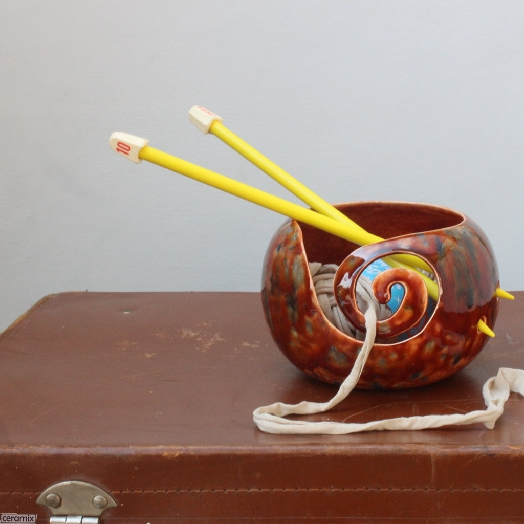 Rust Surprise Ceramic Yarn Bowl in use by Ceramix in South Africa
