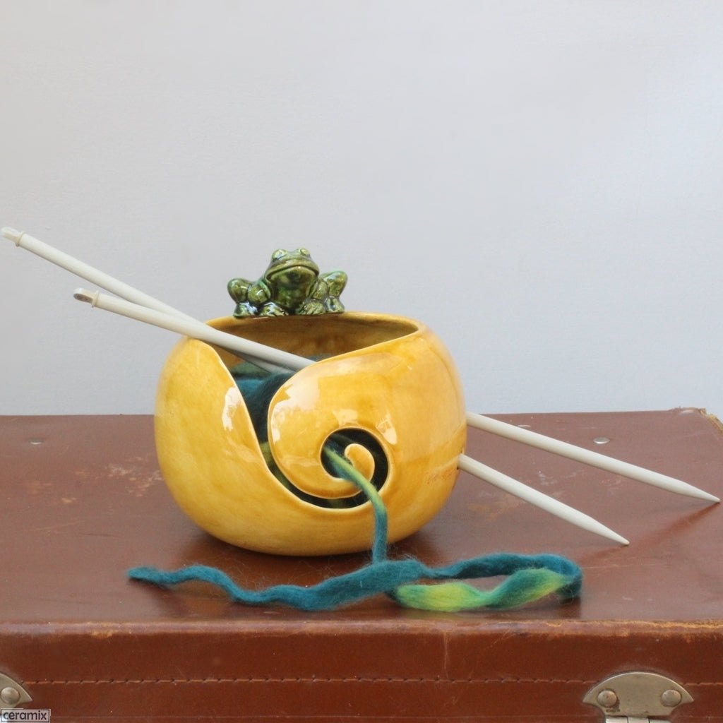 Saffron bowl with a Green Frog Yarn Bowl handmade & styled by Ceramix