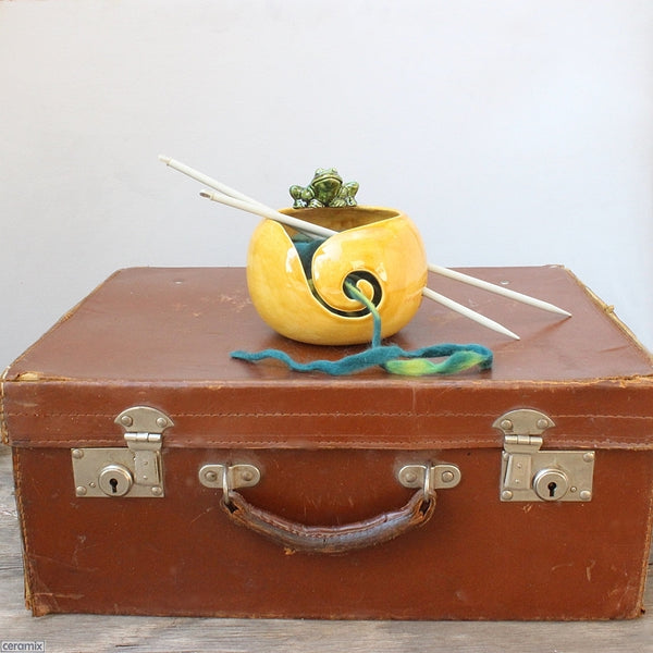 Saffron Frog Yarn Bowl handmade & styled by Margaret Melville Hugo at Ceramix in South Africa