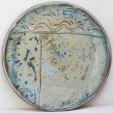Sea Delight Large Round Stoneware Terracotta Platter handcrafted by Margaret Melville at the Ceramix Pottery in South Africa- 43cm Wide x 5.5cm High