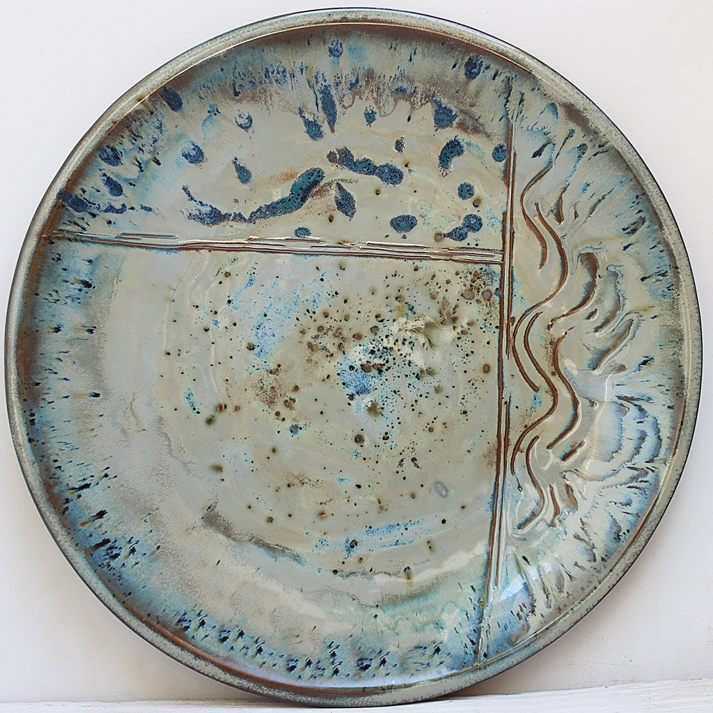 Sea Delight Large Round Stoneware Platter handcrafted by Margaret Melville at the Ceramix Pottery in South Africa- 43cm Wide x 5.5cm High