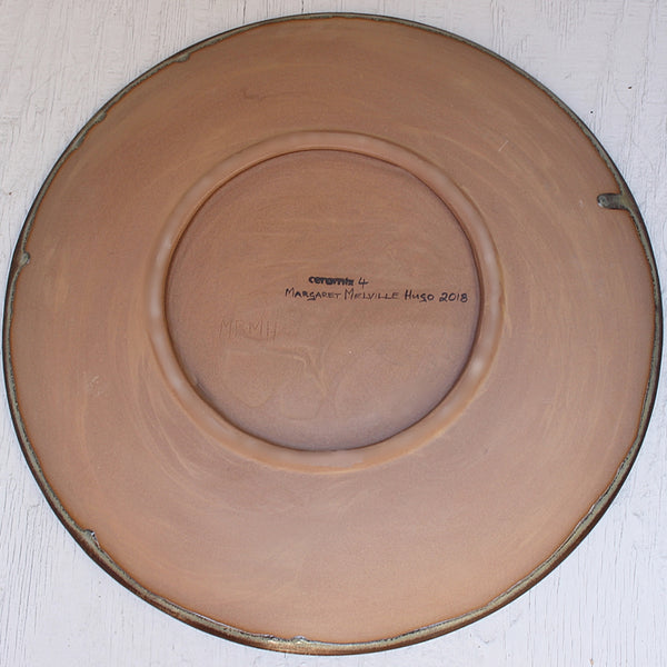 Back of the Sea Delight Large Round Stoneware Platter handcrafted by Margaret Melville at the Ceramix Pottery in South Africa- 43cm Wide x 5.5cm High
