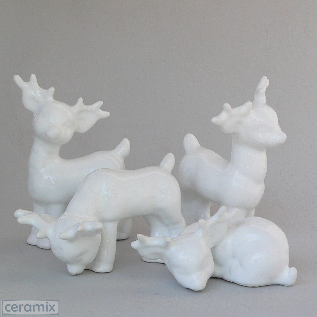 White Ceramic Set of 4 Small Reindeer in White Clay Glazed White by Ceramix