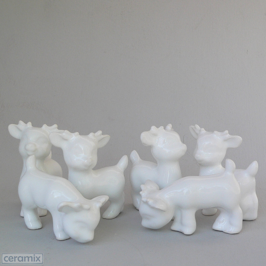 6 White Ceramic Tiny Reindeer in White Clay Glazed White by Ceramix