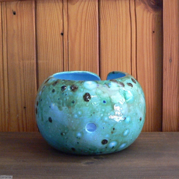 Shattuckite Turquoise Large Round Yarn Bowl back one hole for additional ball of wool Handmade by Ceramix