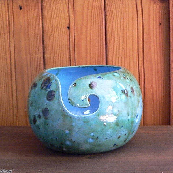 Hand carved front swirl of the Shattuckite Turquoise Large Round Yarn Bowl Handmade by Ceramix