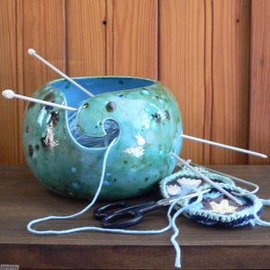 Shattuckite Turquoise  Large Round Yarn Bowl in use Handmade by Margaret Melville Hugo from African Clay and speciality glazes at Ceramix