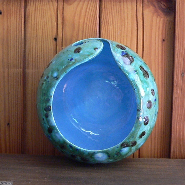 Shattuckite Turquoise Large Round Yarn Bowl viewed from above Handmade by Ceramix