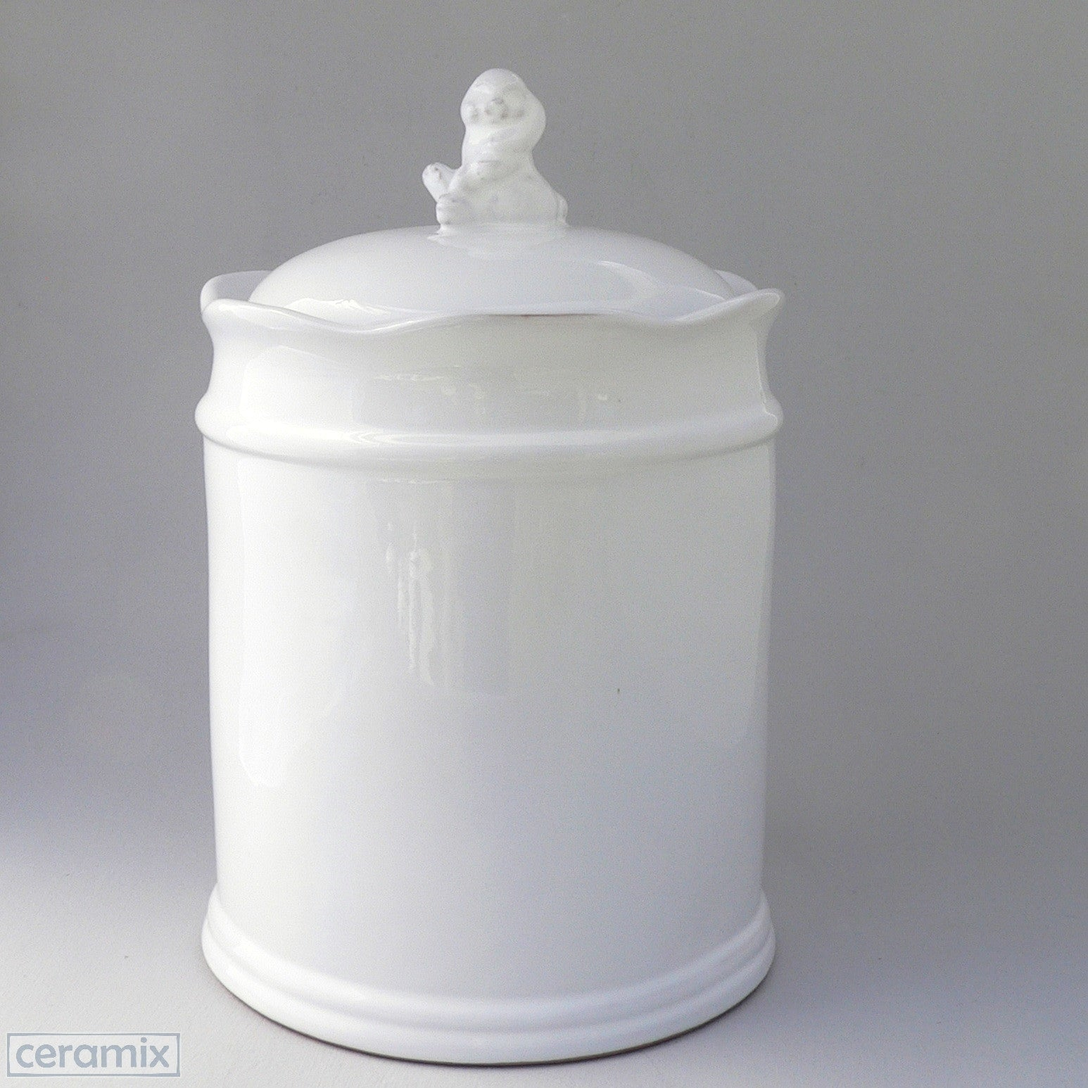 White Ceramic Large Bunny Canister in Terracotta Clay Glazed White by Ceramix