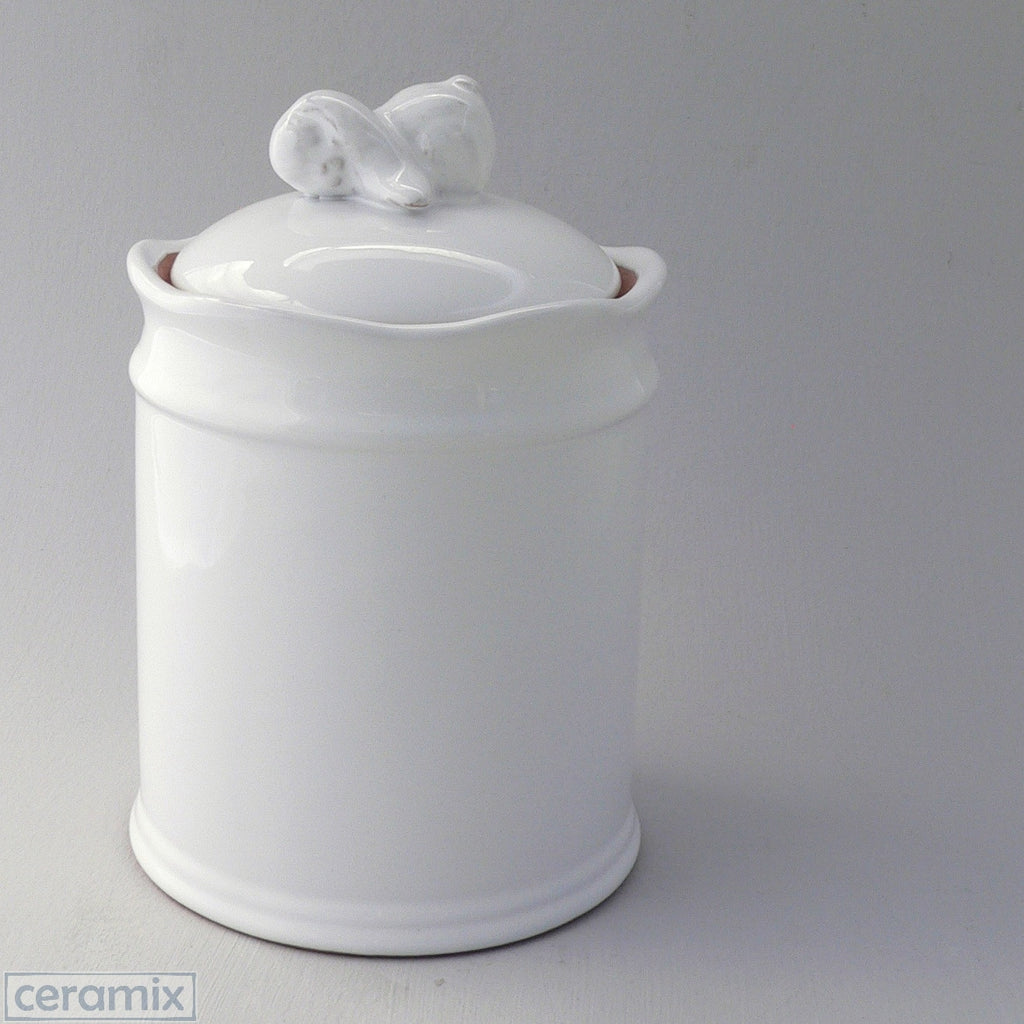 Small White Ceramic Bunny Canister in Terracotta Clay Glazed White by Ceramix