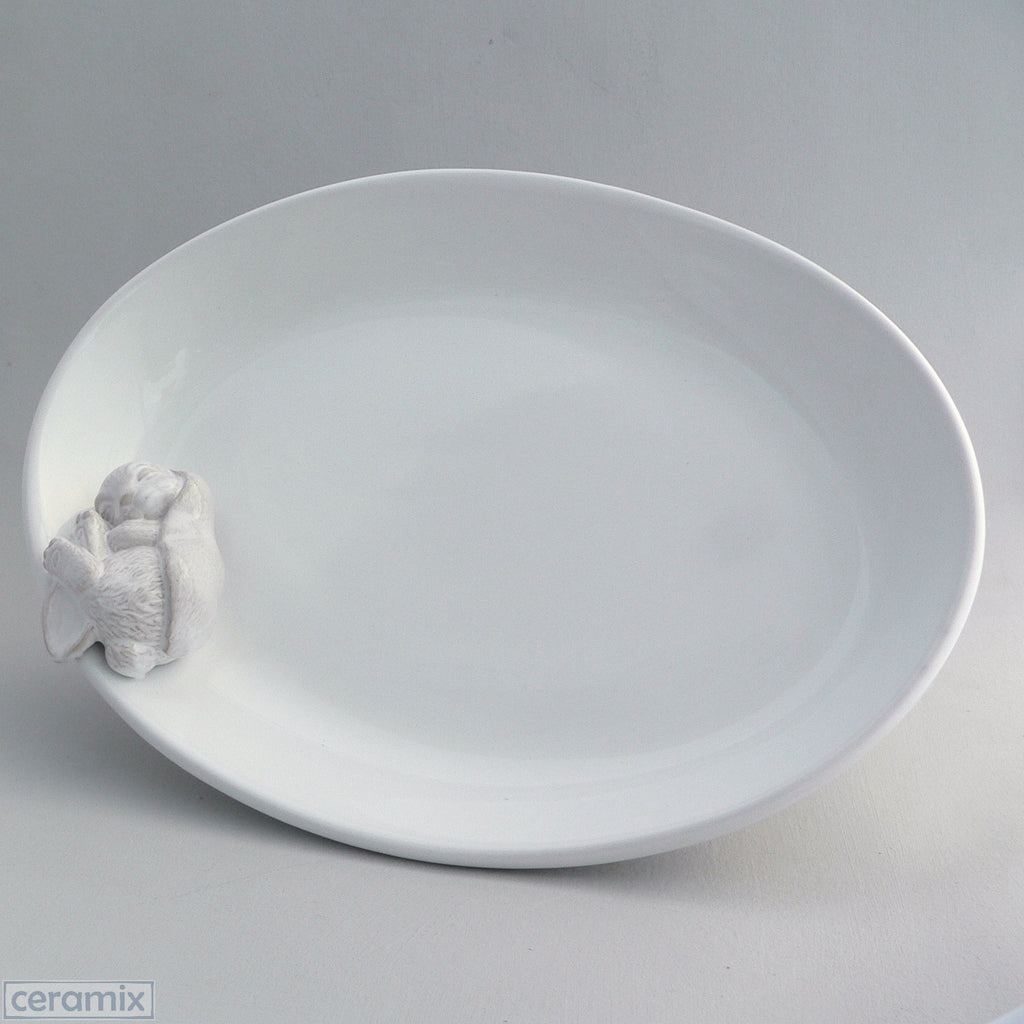 White Ceramic Sleeping Bunny Serving Bowl in Terracotta Clay Glazed White by Ceramix