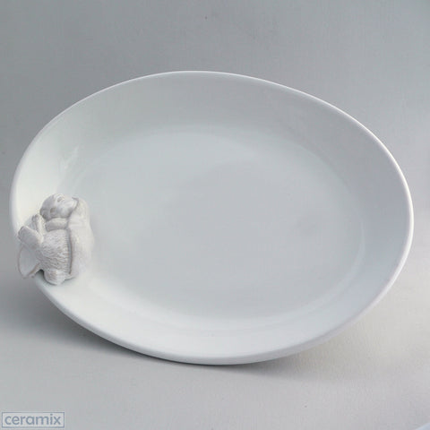 Ceramic Sleeping Bunny Oval Serving Bowl