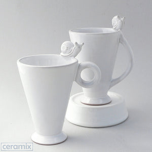 White Ceramic Snail Mugs in Terracotta Clay Glazed White by Ceramix