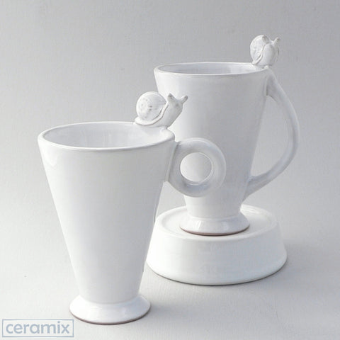 Ceramic Slippey Snail Tall Mug with Assorted Handles