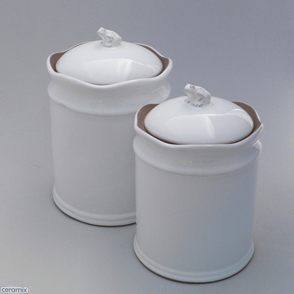 Ceramic Frog White Canister #1& #2 in Terracotta Clay Glazed White by Ceramix