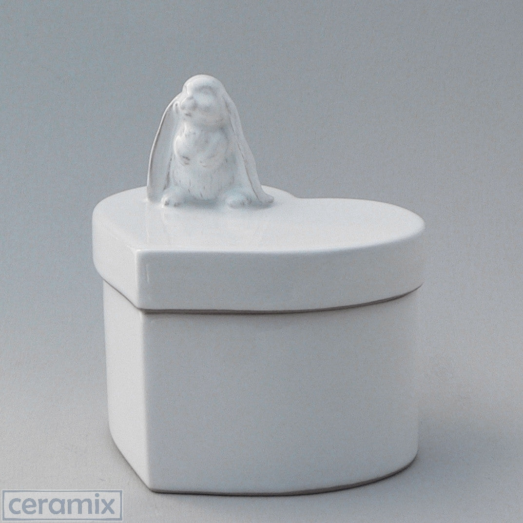 Small White Ceramic Standing Bunny Heart Box in Terracotta Clay Glazed White by Ceramix