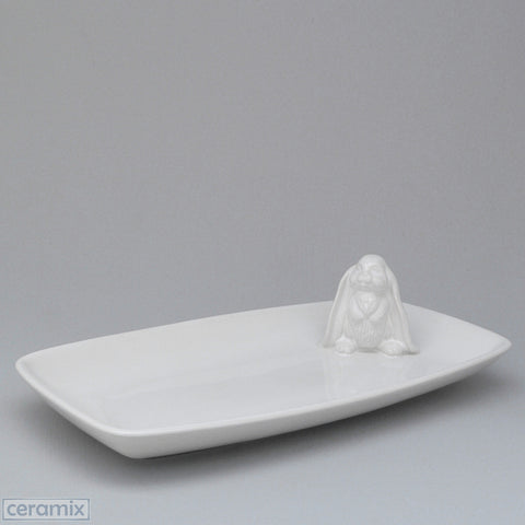 Standing Bunny White Ceramic Snack Dish in Terracotta Clay Glazed White by Ceramix